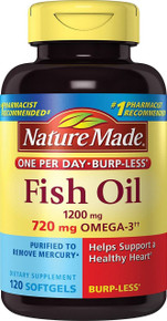 Nature Made Fish Oil Burp-Less 1200mg OMEGA-3 720 mg One Per Day 120 Counts