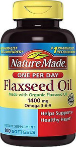 Nature Made Organic Flaxseed Oil 1400 mg 700mg Omega 3 100 Liquid Softgels