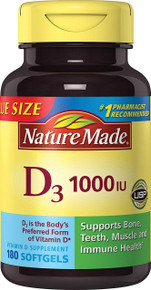 Nature Made Vitamin D3 1000 IU Value Size 180 Count Softgels