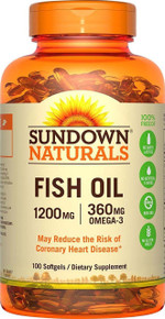 Sundown Naturals Fish Oil Extra Strength 1200 mg 100 Softgels