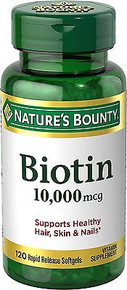 Nature's Bounty Biotin 10,000 mcg 120 Softgel Support Healthy Hair, Skin & Nails