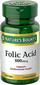Nature's Bounty Folic Acid 800 mcg Tabs 250 CT, Supports Cardiovascular Health
