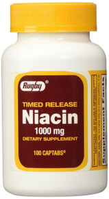 Rugby Niacin 1000 mg Timed Release 100 Tablets
