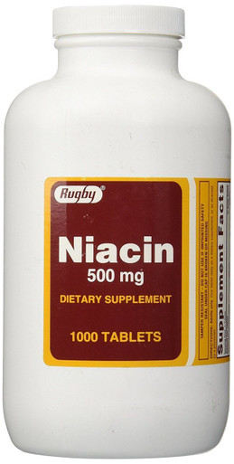 Rugby Niacin 500 mg 1000 Tablets Dietary Supplements
