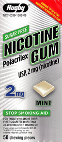 Rugby Nicotine Gum 2mg Sugar Free Mint Flavor Nicorette 50 Chewing Pieces