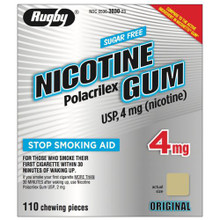Rugby Nicotine Gum 4 mg NF Polacrilex Sugar Free Mint Flavor Nicorette 110 Count