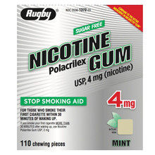 Rugby Nicotine Polacrilex Gum USP 4 mg Nicorette Chewable Pieces 110 Counts