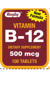 Rugby Vitamin B-12 Dietary Supplement 500 mcg 100 Tablets