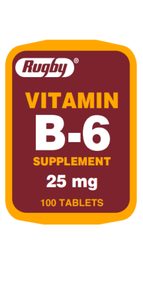 Rugby Vitamin B-6 Supplement 25 mg 100 Tablets