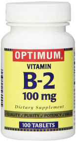 Optimum Vitamin B-2 100 Mg 100 Tablets, Supports Proper Thyroid Function