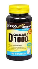 Mason Vitamins D 1000 IU Peach-Vanilla Chewable Tablets 60 Count