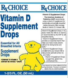 Rx Choice Vitamin D Supplement Drops 50 ml Cherry Flavored Supplement Drops