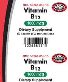AvKARE Vitamin B12 Cyanocobalamin 1000 mcg 5X10 UD 50 Counts, Helps Nerve Health