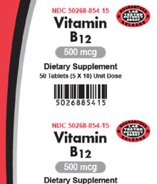 AvKARE Vitamin B12 Cyanocobalamin 500mcg 5X10 UD 50 Tablet Cardiovascular Health