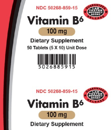 AvKARE Vitamin B6 Pyridoxine 100mg 5X10 UD 50 Tabs normal function of the Brain