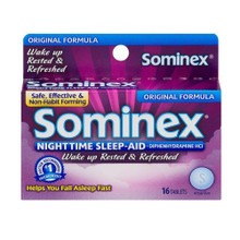 Sominex Original Formula Tablets Nighttime Sleep-Aid Diphenhydramine 16 Counts