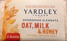 Yardley Nourishing Elements Oat, Milk & Honey Natural Artisan Soap 10.5 Oz