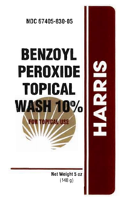 Harris Benzoyl Peroxide Topical Wash 10% 5 Fl Oz For the Treatment of Acne