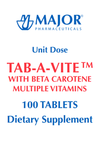 Major TAB-A-VITE with Beta Carotene Multiple Vitamins Unit Dose, 100 Red Tablets