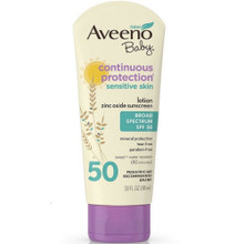 AVEENO Baby Continuous Protection Sensitive Skin Lotion Zinc Oxide Sunscreen 3OZ