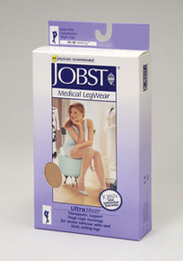 Jobst UltraSheer PETITE Thigh Highs with Lace Silicone Top Band 30-40 mmHg