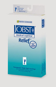 Jobst Relief 20-30 mmHg Open Toe Garter Style Thigh Highs - No Grip Top