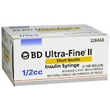 BD Ultrafine II U-100 Insulin Syringe 31 Gauge 1/2cc 5/16 inch Short Needle 100/box (328468)