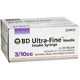 "BD Ultrafine U-100 Insulin Syringe 30g 3/10cc 1/2"" 100/Box"