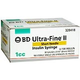 BD Ultrafine II U-100 Insulin Syringe 31 Gauge 1cc 5/16 inch Short Needle 100/box (328418)
