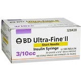 BD Ultrafine II U-100 Insulin Syringe 31 Gauge 3/10cc 5/16 inch Short Needle--1/2 Unit Markings 100/box (328440)