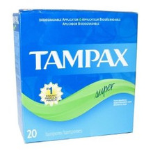 TAMPAX FLUSHABLE SUPER TAMPONS 20 ct