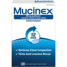Mucinex Expectorant, Guaifenesin Extended-Release 600 mg Tablets  40 ea