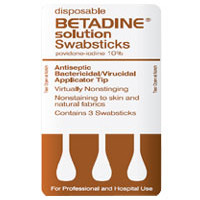 Betadine Disposable Solution Swabsticks - 3/Pack, 50 Packs