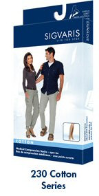 Sigvaris 230 Unisex Cotton Series 30-40 mmHg OPEN Toe Thigh Highs - 233N