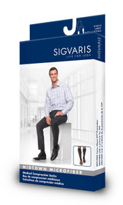 Sigvaris 820 Midtown Microfiber 30-40 mmHg Men's Closed Toe Knee Highs w/ Silicone Grip top - 820C