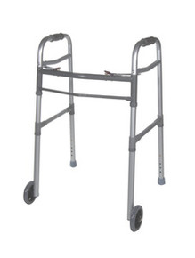 "Drive Adult/Junior Deluxe Folding Walker, Two Button with 5"" Wheels, Universal"