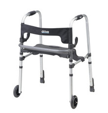 "Drive Adult, Clever-Lite LS Walker with Seat, Push Down Brakes and 5"" Casters"