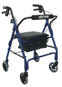 "Drive Deluxe Aluminum Rollator with Padded Seat, 6"" Casters with Lever Locks and Pouch"