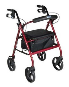 "Drive Aluminum Rollator w/Fold Up and Removable Back Support, Padded Seat, 8"" Casters w/Loop Locks"