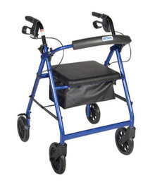 "Drive Aluminum Rollator w/Fold Up and Removable Back Support, Padded Seat, 8"" Casters w/Loop Locks DRVR728BL"