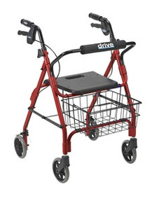 "Drive Deluxe Aluminum Rollator with Plastic Seat, 6"" Casters with Lever Locks"