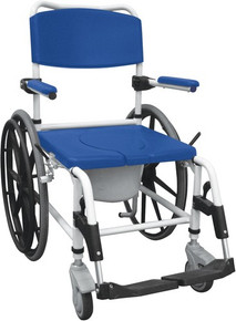 "Drive Aluminum Shower Commode Mobile Chair with 24"" Rear Wheels"
