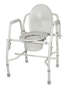 Drive Deluxe Steel Drop-Arm Commode, Tool Free Knock Down Frame