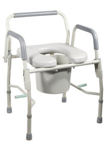 Drive Deluxe Steel Drop-Arm Commode with Padded Seat and Open Front End, Tool Free Knock Down Frame