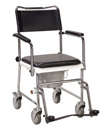 Drive Portable, Upholstered, Wheeled Drop-Arm Commode, Knock Down, Tool Free Assembly