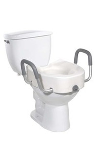 "Drive Premium Plastic Elevated, Regular - Elongated 4 1/2"" Toilet Seat with Lock with Arms"
