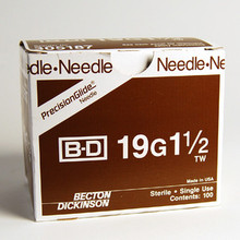 BD Needle Only 19 Gauge 1.5 inch 100/box (305187)