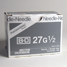 BD Needle Only 27 Gauge 1/2 inch 100/box (305109)