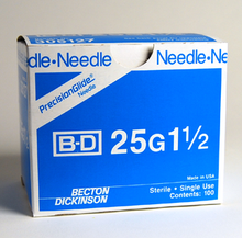 BD Needle Only 25 Gauge 1.5 inch 100/box