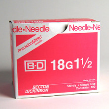 BD Needle Only 18 Gauge 1.5 inch 100/box (305196) (10020362)
